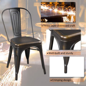 Gyrohomestore Metal Slat Back Dining Room Chair