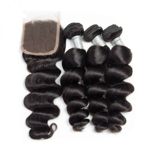 Indian Loose Wave I 3bdl +  (6x6)Closure - MyHairGlory