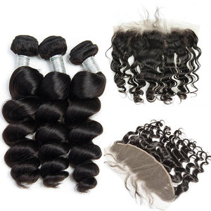 Indian Loose Wave I 3bdle + Lace Front - MyHairGlory