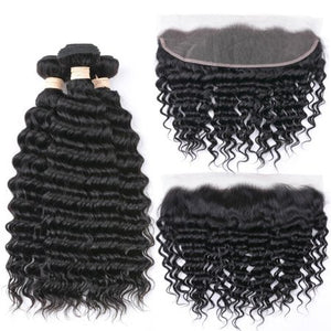 Indian Deep Wave I 3 bdle+Lace Front - MyHairGlory