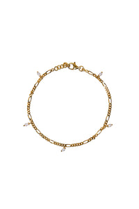 Armbanden - Figaro small pearl - Gold plated