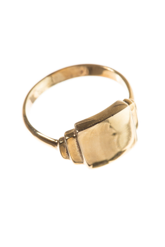 Brass signet square ring xzota