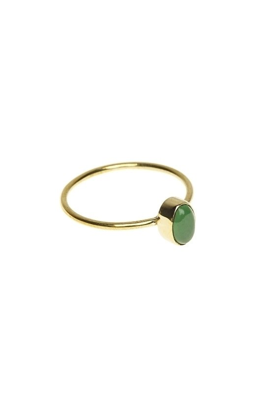 Brass ring with oval jade stone Xzota