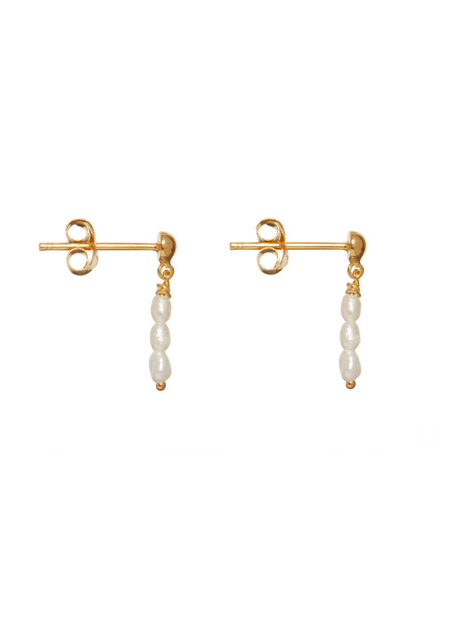 Oorbellen - Multi pearl - Gold plated