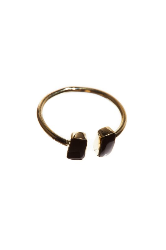 Ring brass double onyx rectangle