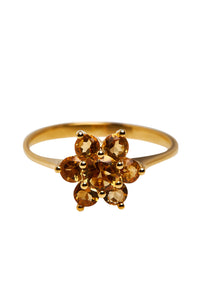 Ringen - Flower citrine - 14K Gold