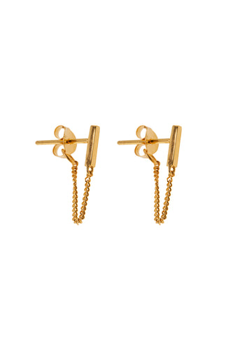 Oorbellen -  Chain bar stud - Gold plated
