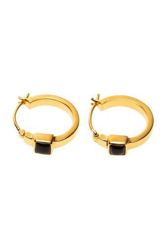 Earring hoop square onyx stone gold-plated