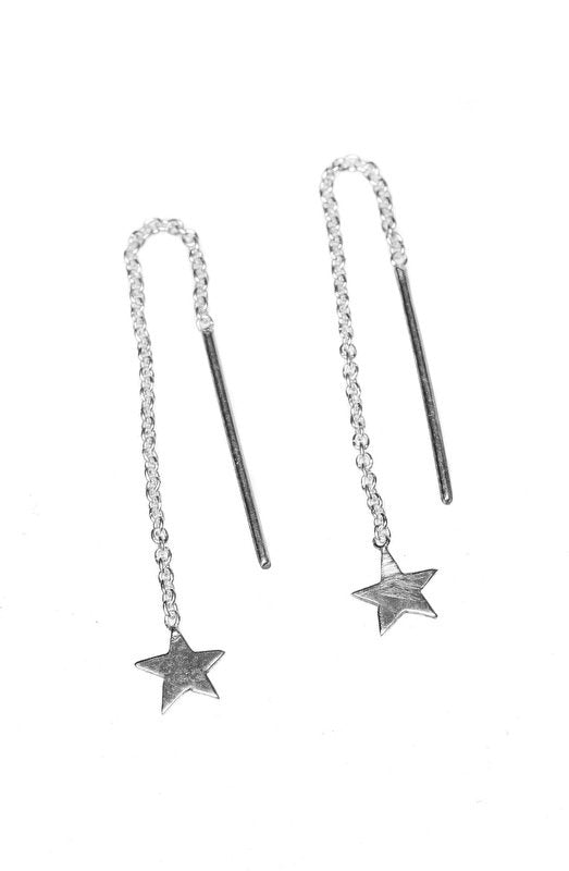 Silver chain star earring