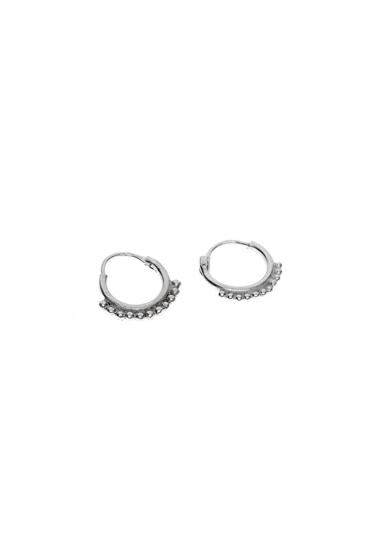 Silver dots ring earring
