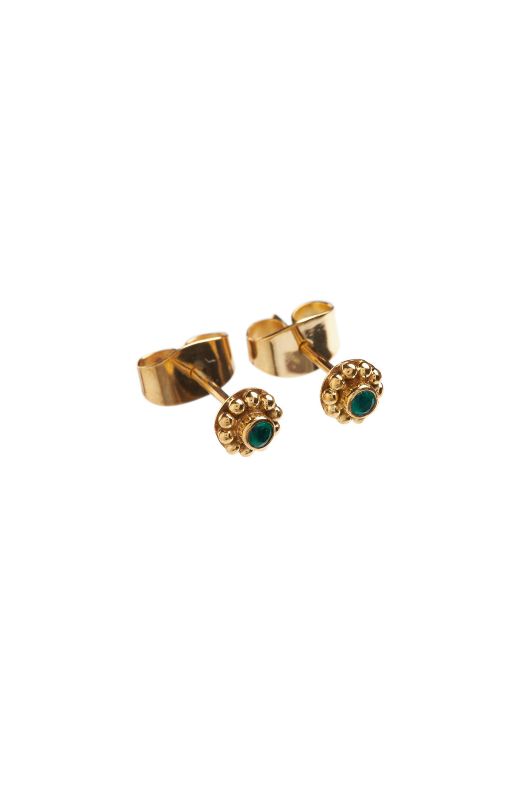 Oorbellen - Small flower with green stone - 14K Gold