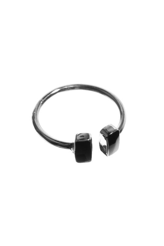 Xzota ringen double rectangle onyx silver