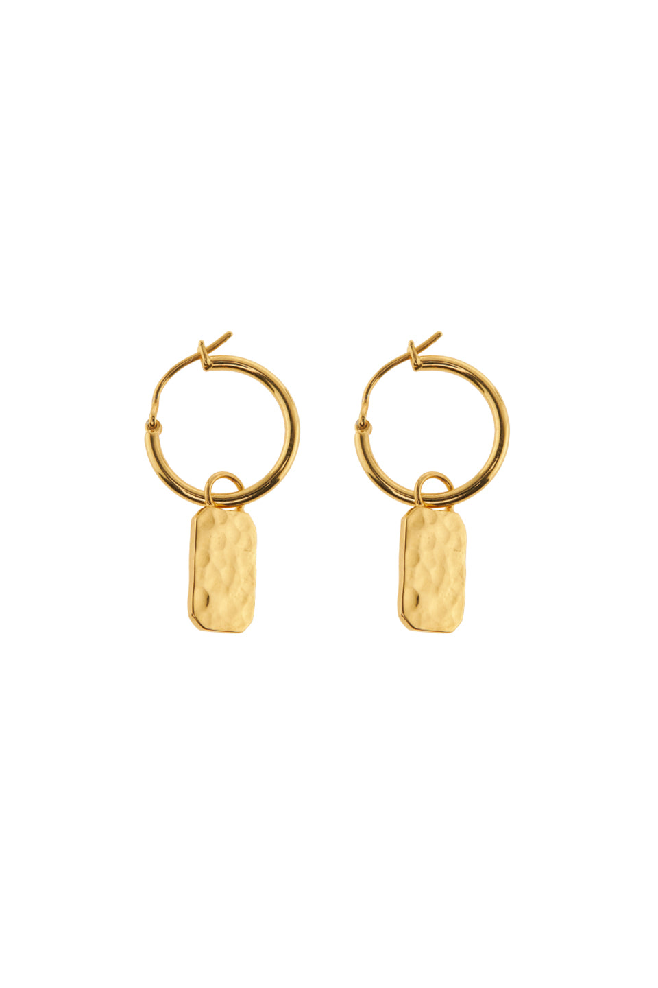 Oorbellen - Tag hammered - Gold plated