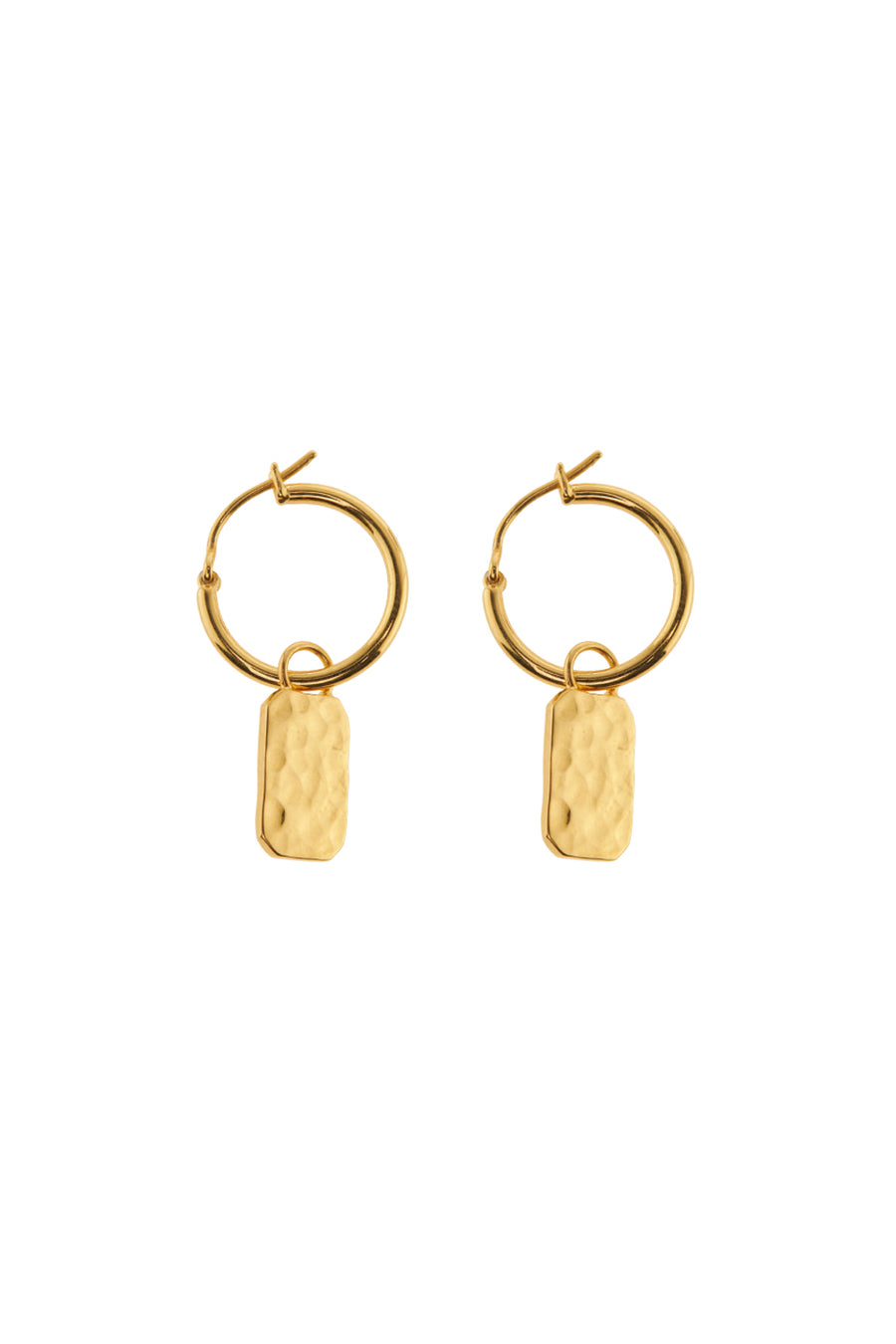Xzota | Oorbellen | Tag hammered | Gold plated