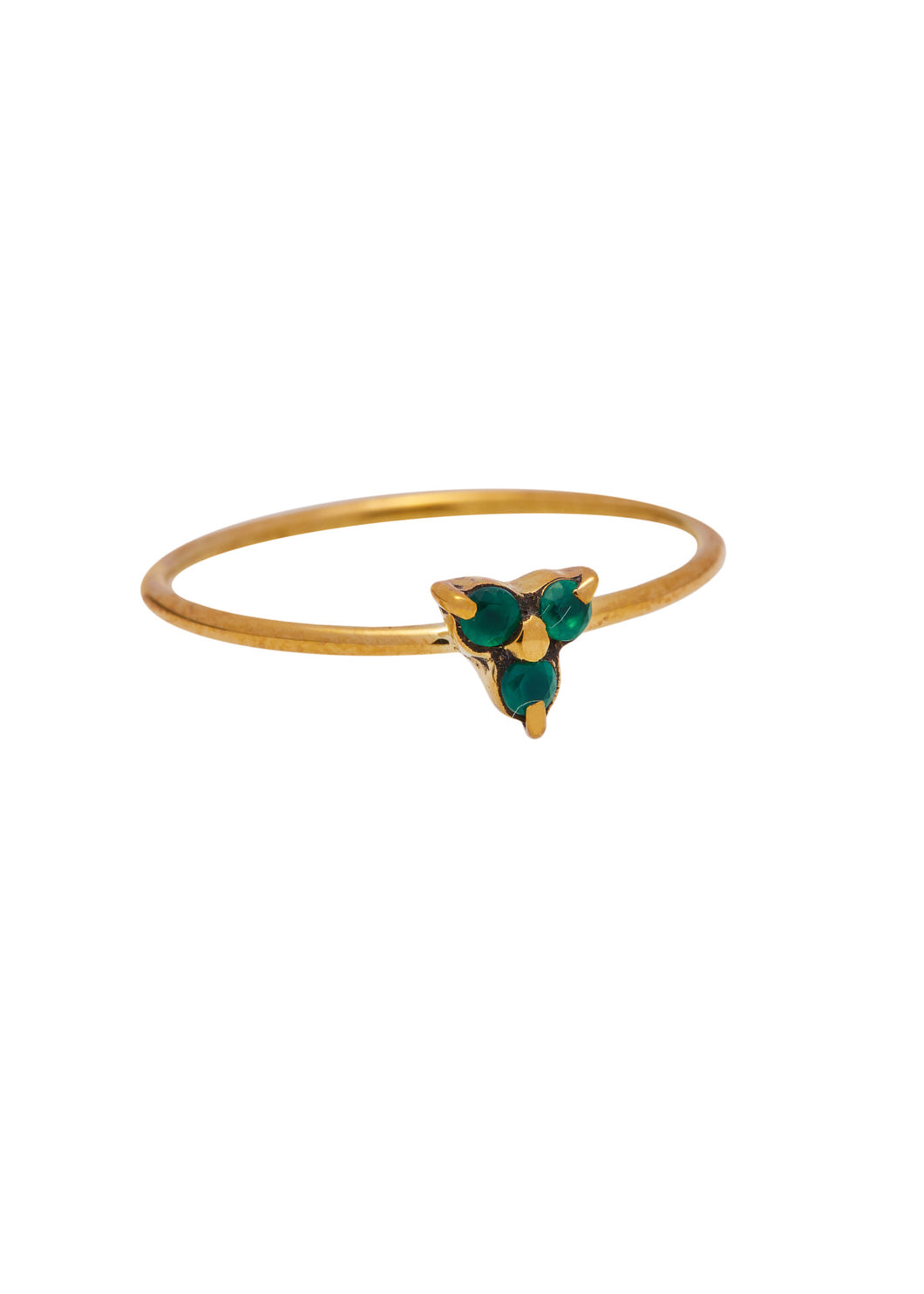 Ringen - Triple green stone - Brass