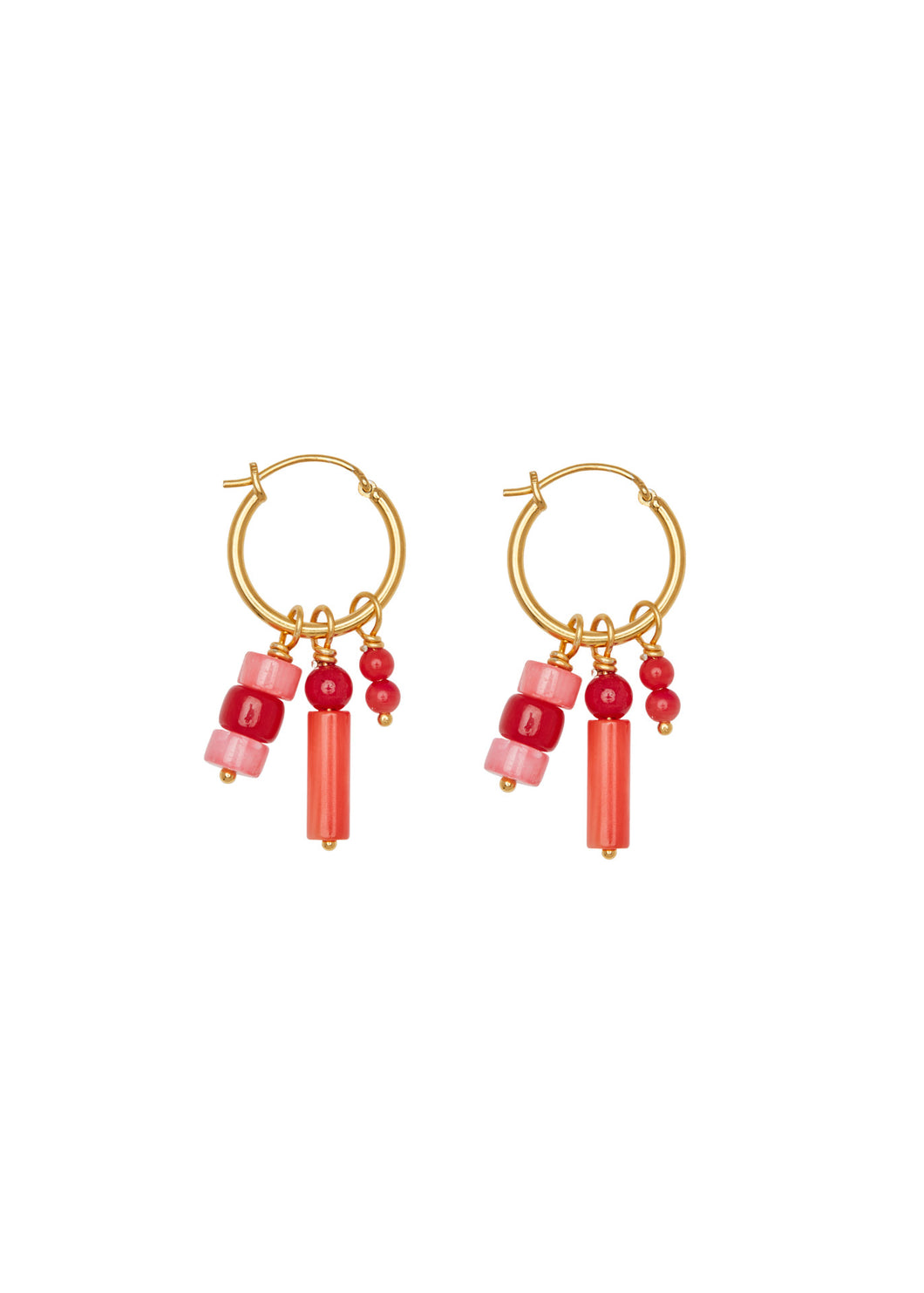 Oorbellen - Multi coral - Gold plated