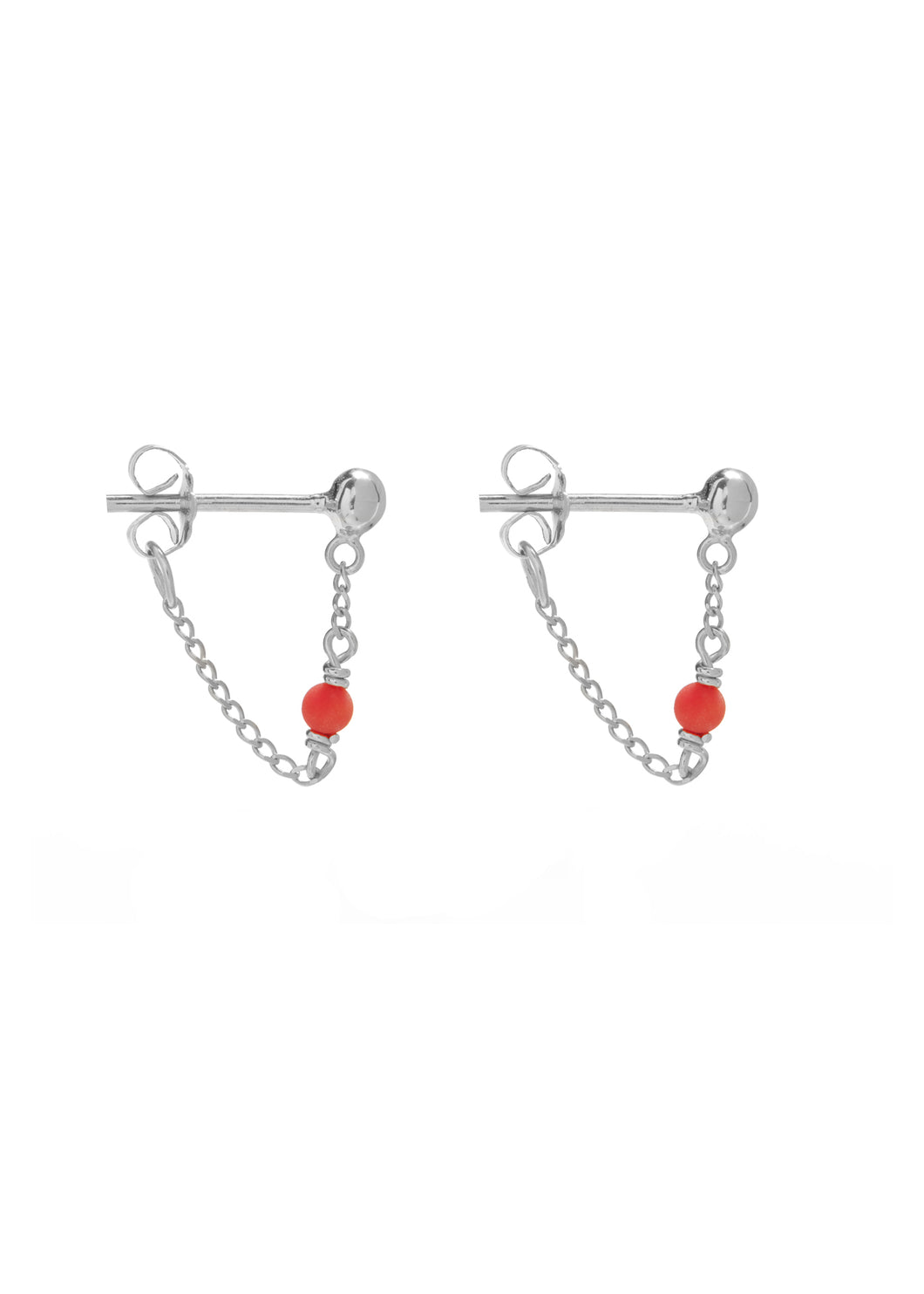 Oorbellen - Dot chain coral - Silver