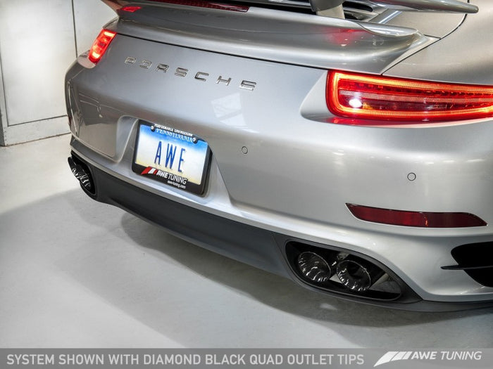 AWE Tuning Porsche 991.1 Turbo Performance Exhaust and High-Flow Cats - Black Quad Tips - Euromotive