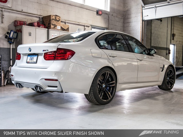 AWE Tuning BMW F8X M3/M4 Resonated SwitchPath Exhaust - Chrome Silver Tips (90mm) - Euromotive