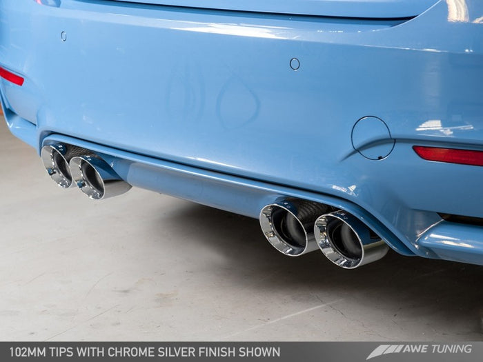 AWE Tuning BMW F8X M3/M4 Resonated Track Edition Exhaust - Chrome Silver Tips (102mm) - Euromotive