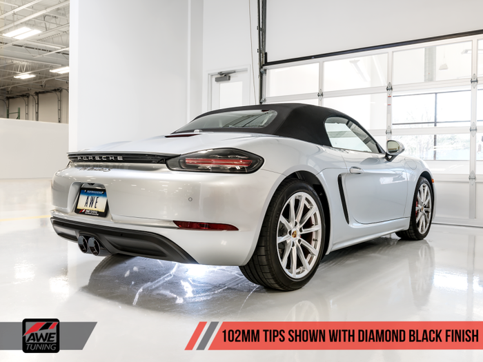 AWE Tuning Porsche 718 Boxster / Cayman Track Edition Exhaust - Diamond Black Tips - Euromotive