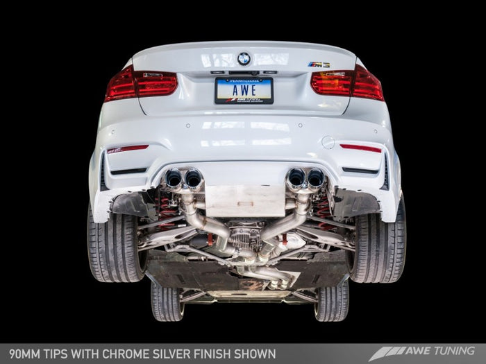 AWE Tuning BMW F8X M3/M4 Resonated SwitchPath Exhaust - Chrome Silver Tips (102mm) - Euromotive