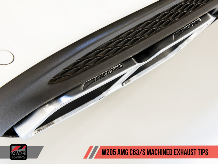 AWE Tuning Mercedes-Benz AMG C63 Machined Exhaust Tips - Diamond Black - Euromotive