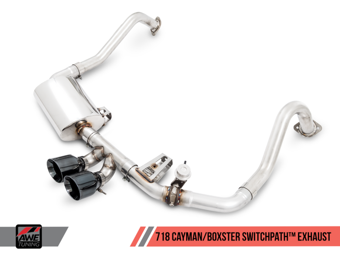 AWE Tuning Porsche 718 Boxster / Cayman SwitchPath Exhaust (PSE Only) - Diamond Black Tips - Euromotive