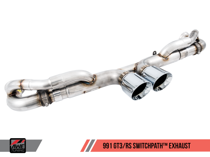 AWE Tuning Porsche 991 GT3 / RS SwitchPath Exhaust - Chrome Silver Tips - Euromotive