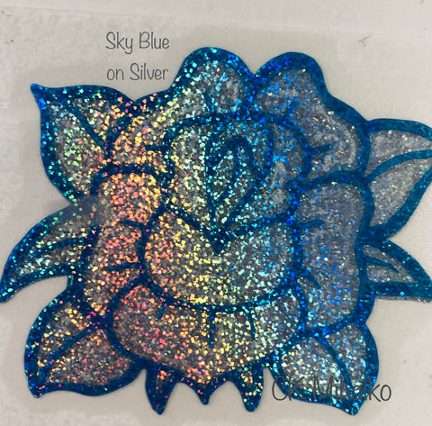 rose decal sky blue on silver