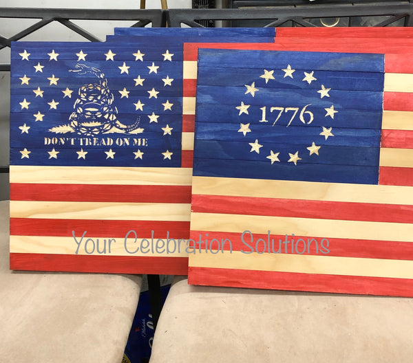 American flag, 1776, don't tread on me, handmade
