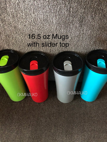 travel cups, 16oz, slider top