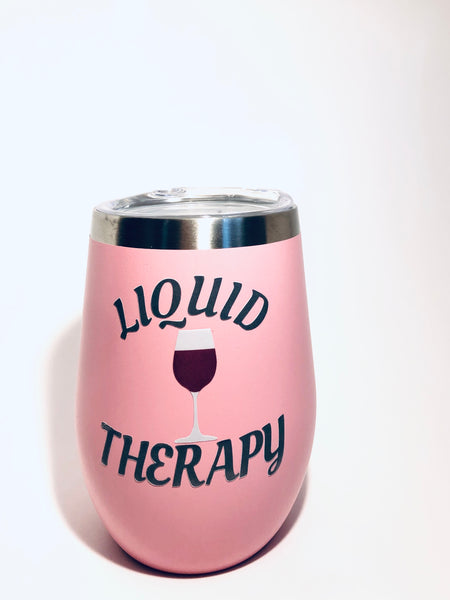 12oz Pink Wine glass tumbler, stainless steel