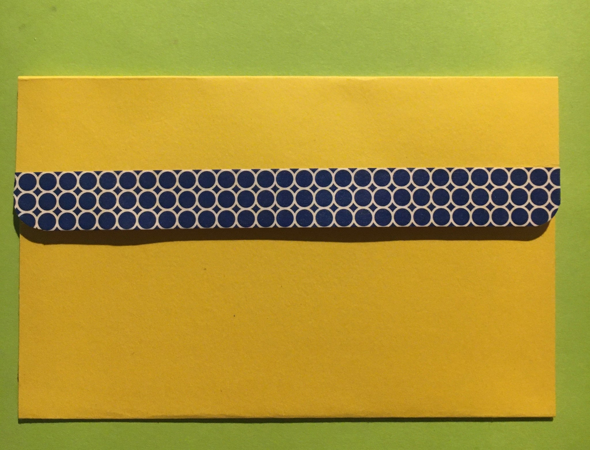 "Handmade Envelope Yellow 3-1/2"" H x 5-1/2""W, folded top/blue trim"