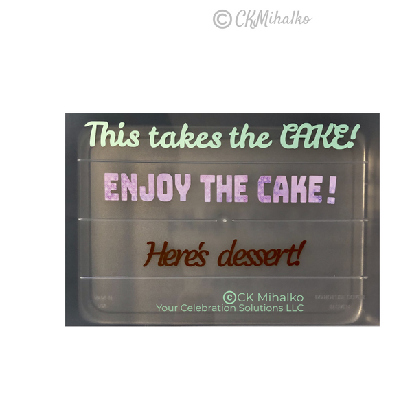 cake pan cover lettering, sayings