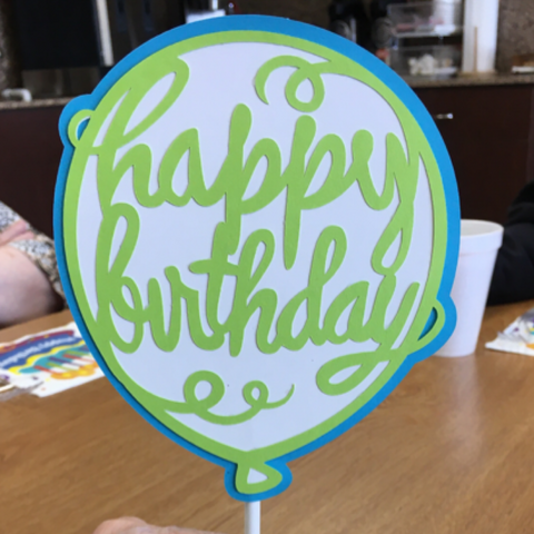 happy birthday, balloon cake topper