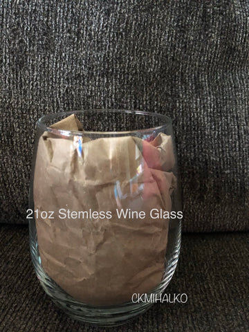 Stemless Wine Glass 21oz (option:add a decal)