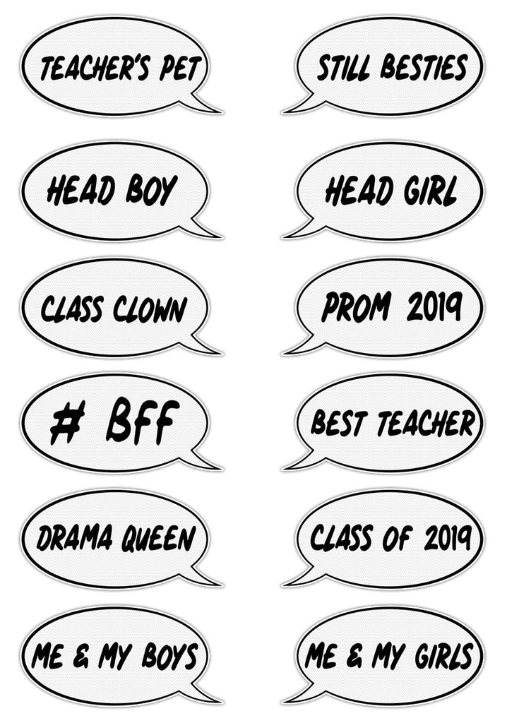 Party Photo Comic Speech Bubbles Pack of 12 — Playground