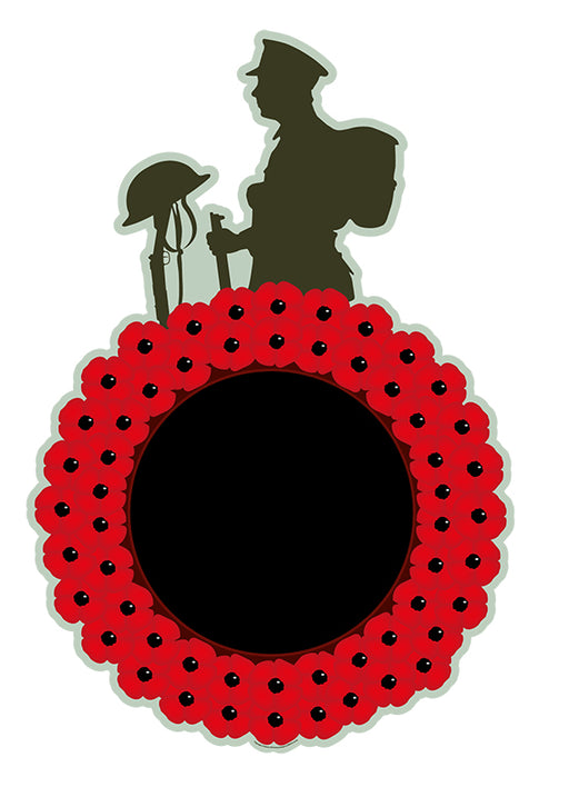 Poppy Wreath Chalkboard with Soldier