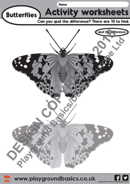 Butterfly Spot the Difference Activity Worksheet