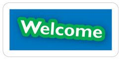 Static Window Cling  Welcome Blue and Green
