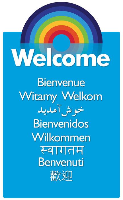 Multi-Language Rainbow Welcome Sign