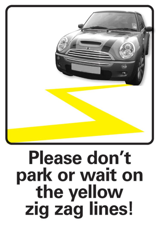 Yellow Zig Zag lines warning Sign
