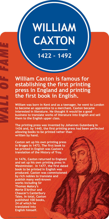 Famous Faces Signs William Caxton
