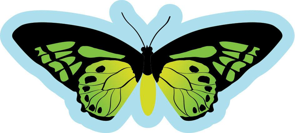 Butterfly Sign  Green and Yellow