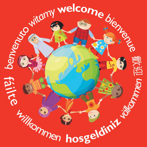 Welcome Across the World Full Colour Window Sticker