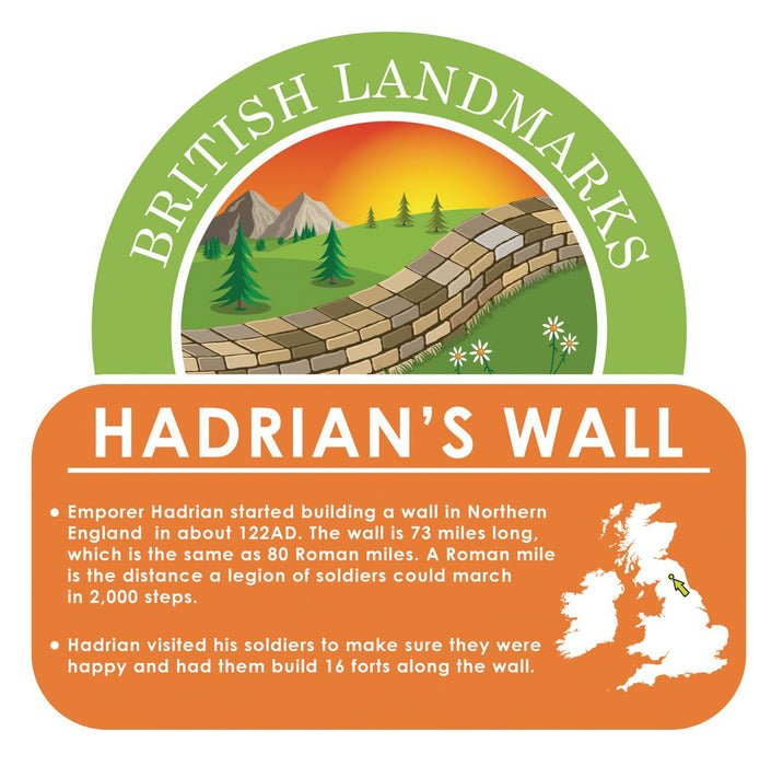 British Landmarks - Hadrian's Wall Sign