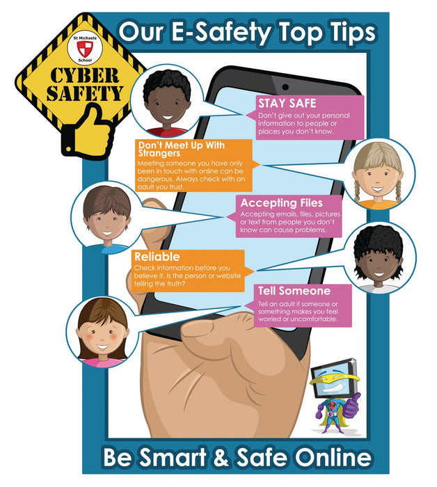 E Safety Top Tips Phone Sign