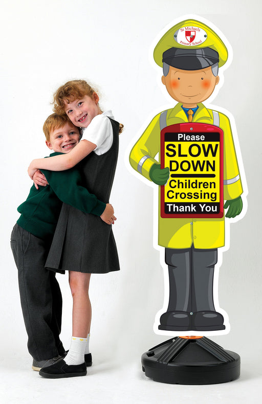 Portable Slow Down School Crossing Sign Man