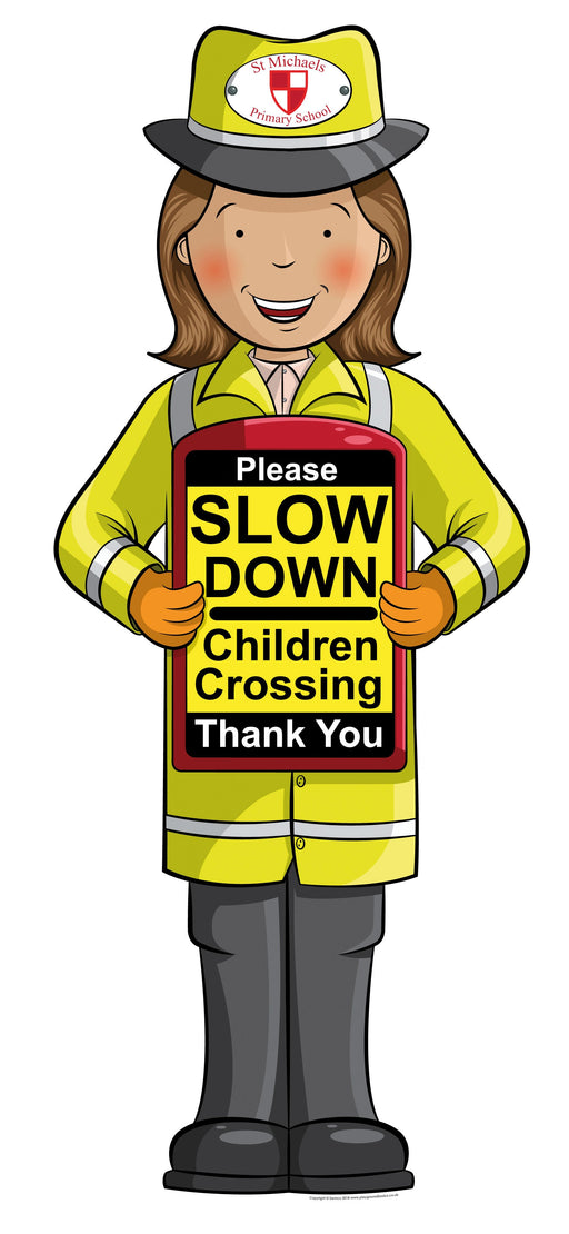 Portable Slow Down School Crossing Sign Woman